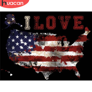 HUACAN Diamond Painting With Square Rhinestones American Map Diamond Mosaic Diamond Embroidery Cartoon Flag Diamond Picture