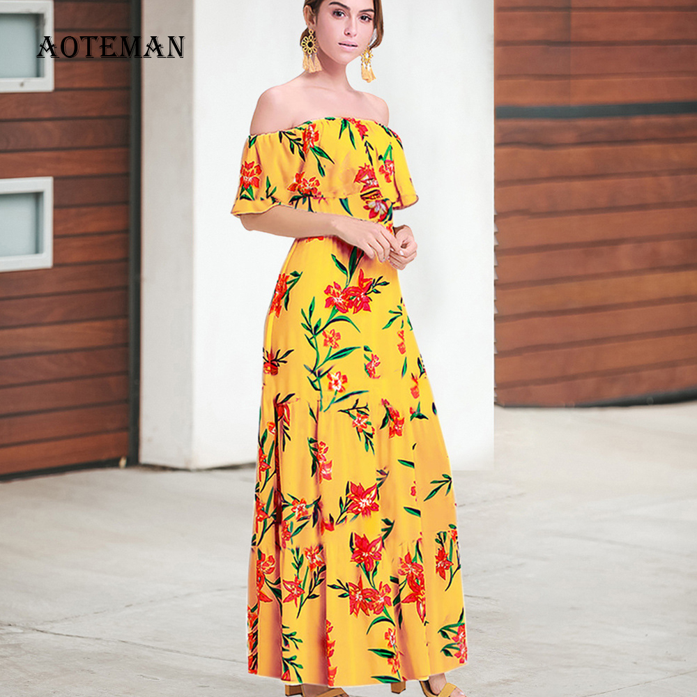 Spring Summer <font><b>Dress</b></font> Women 2020 <font><b>Sexy</b></font> Elegant Strapless <font><b>A</b></font> <font><b>Line</b></font> <font><b>Dress</b></font> Female Vintage Casual <font><b>Slash</b></font> Neck Long Office Party <font><b>Dresses</b></font> image