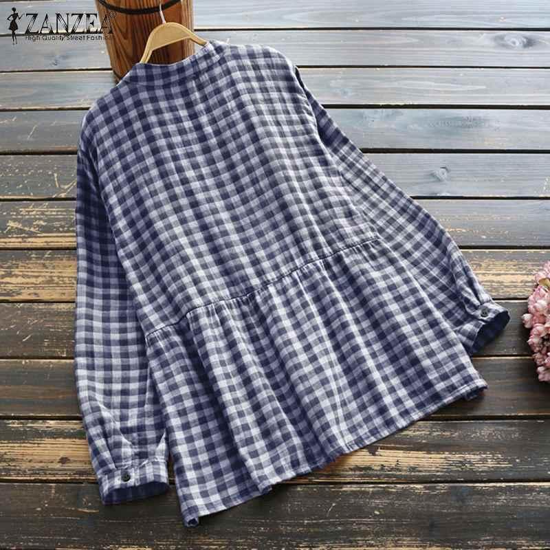 ลายสก๊อตเสื้อ ZANZEA 2020 ผู้หญิงวินเทจยืนเสื้อตรวจสอบเสื้อแขนยาวปุ่ม Tunic Blusas เสื้อผ้าสตรี