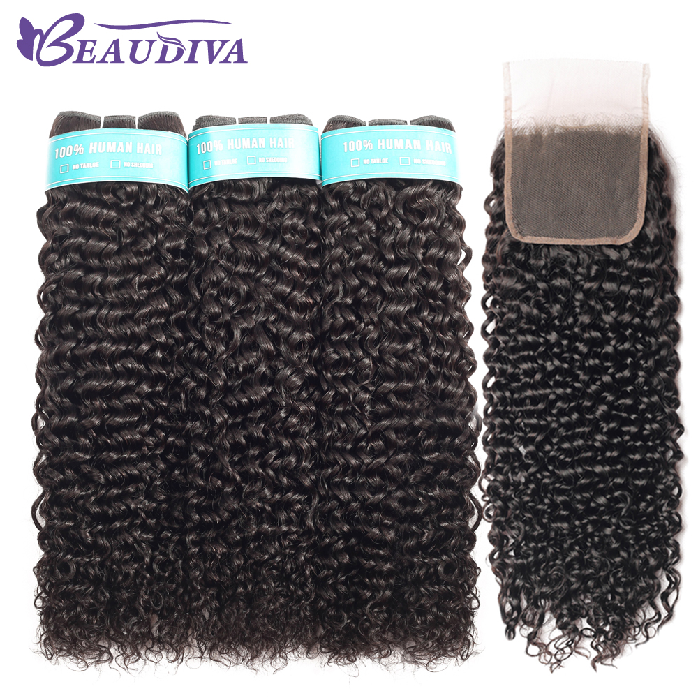 Beaudiva Hair Malaysian Kinky Curly Hair Bundles Remy Human Hair Extensions Nature Color Can Buy Bundles With Closure