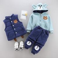 Winter boy girl clothing set kids warm thicker suit for 0 4T children outerwear baby boys girls clothes vest+coat+pant 3pcs set
