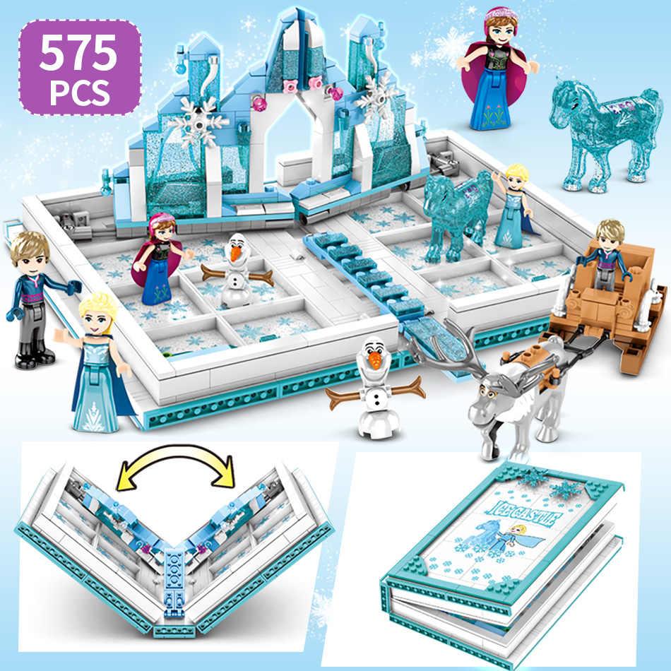 Huiqibao 575 個雪の女王マジックブックビルディングブロックのおもちゃ女友達宮殿城プリンセスエルザアンナフィギュアレンガ子供
