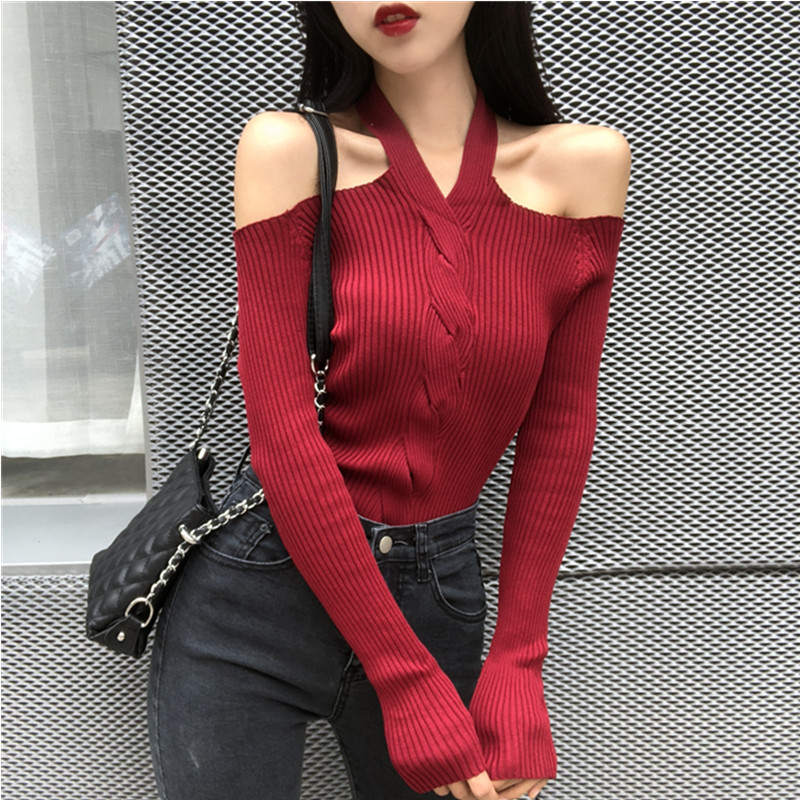 Women Halter Slash Neck Knitted Off-shoulder Sweater Pullover Girls Knitting Stretchy Sweaters Pullovers Tops Female DX6722