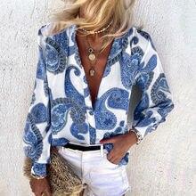 Camisetas elegantes con botones para mujer, ropa informal con estampado floral, de Cachemira, de manga larga y cuello en V, Estilo Vintage, para Primavera, #40