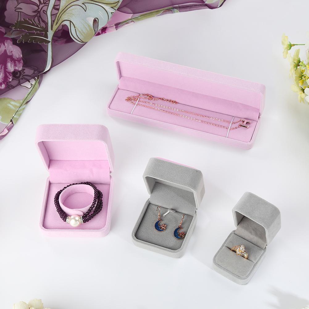 Faux Velvet Presentation Gift Jewellery Ring Necklace Bracelet Display Box Case New