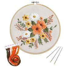 Diy carimbado bordado kit estilo europeu flores padrão de plantas com bordado hoop fio agulhas para iniciantes