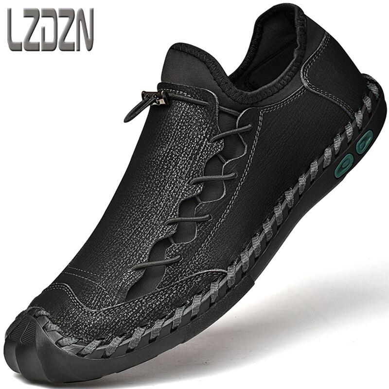 Grande pé sapatos de couro genuíno para homem respirável na moda macio-sola grande tamanho 12 mocassins marca artesanal casual preto verão