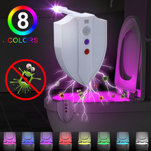 PIR Motion Activated UV Sterilization Features Toilet Light Inside WC Bowl Night Light Novelty LED Light Up 8 Colors Lamp