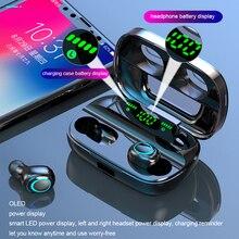 TWS kablosuz Bluetooth kulaklık kulaklık Bluetooth 5.0 kulaklık gürültü iptal Handsfree LED dijital ekran kulakiçi