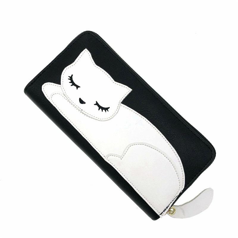 Cute Black White Cat Wallets Coin Purses