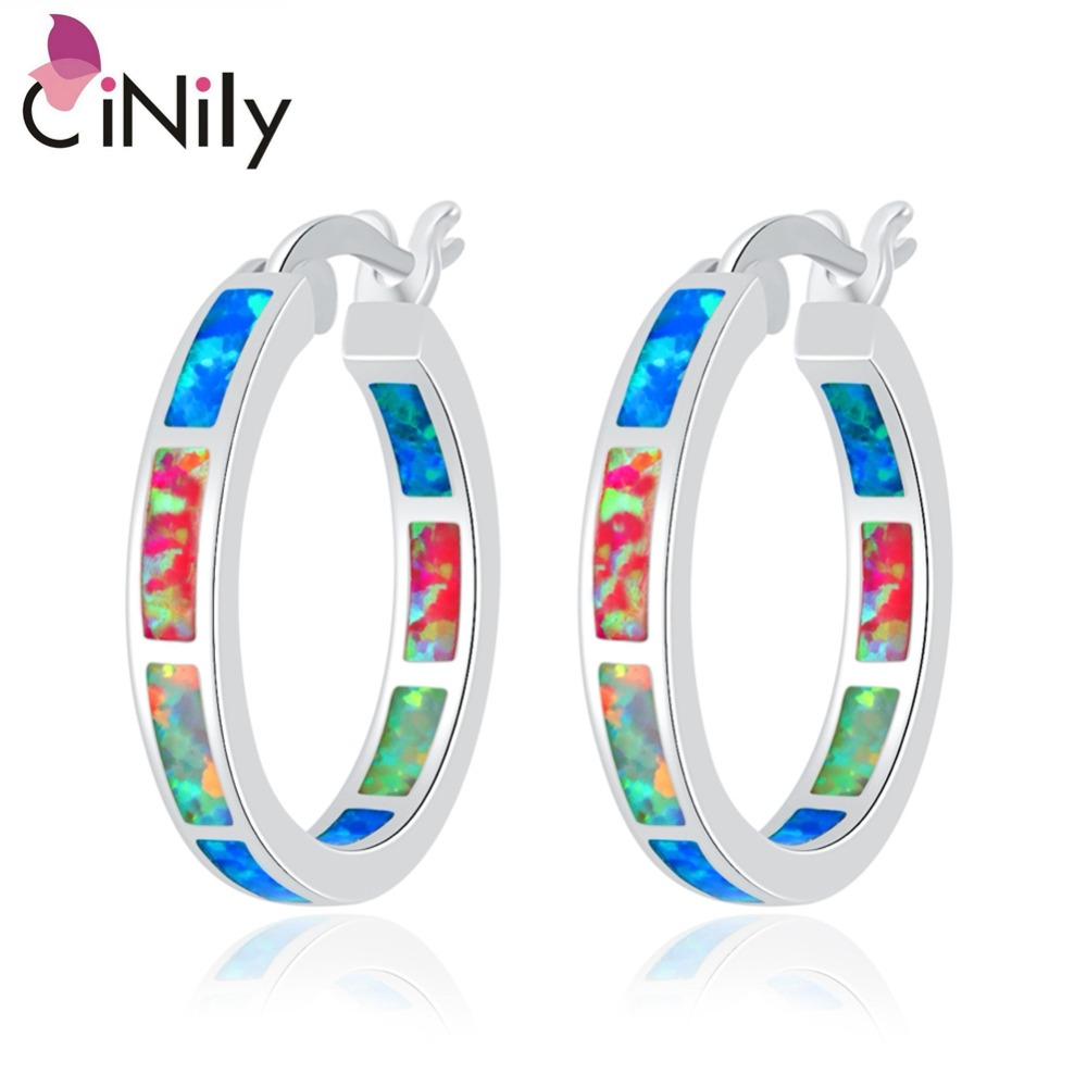 CiNily Rainbow Fire Opal Earrings Silver Plated Blue White Pink Small Round Circle Party Summer Jewelry Gifts for Woman Girl