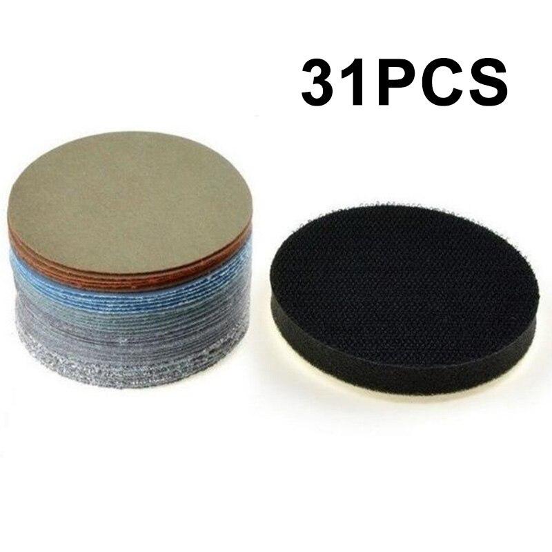 30x влажные/сухие шлифовальные диски Sandpaprer + 1x Пена Подушка 60-10000Grit полировка