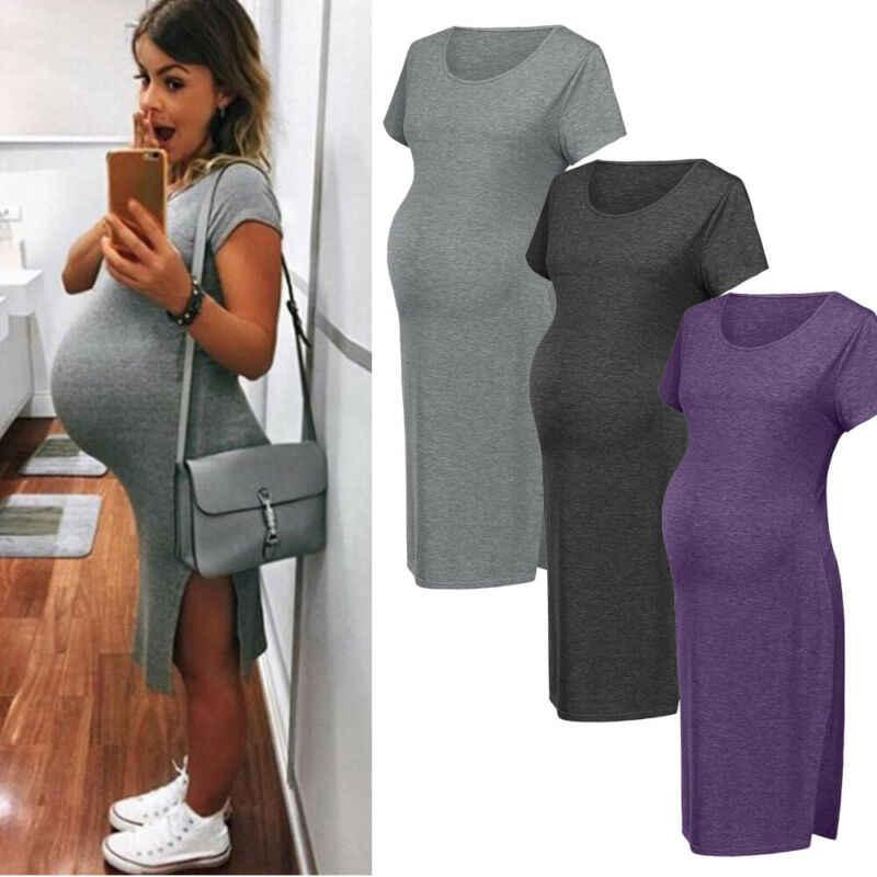 Robe Pour Femme Enceinte Couleur Unie En Coton Col Rond Accessoires Pour Maternite Seance Photo Robe De Bal Nouvelle Collection Ete 2020 Aliexpress