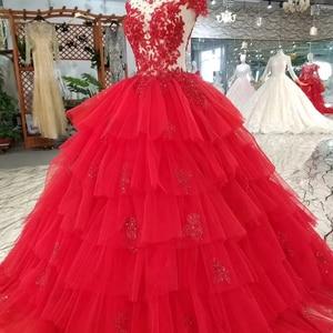 Image 4 - LSS265 peri kırmızı düğün parti elbise yüksek boyun kap kollu açık geri aplikler kek tarzı balo elbise daha katmanlı prenses elbise