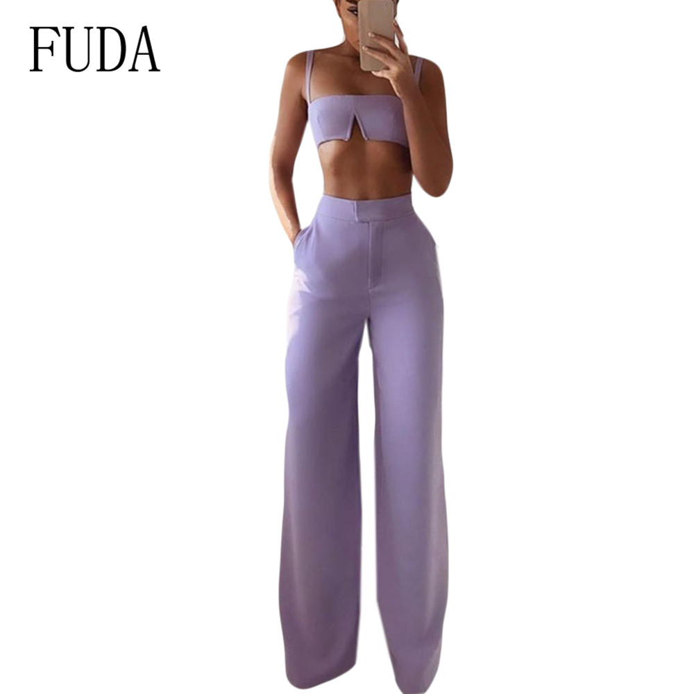 FUDA Summer Ladies Fashion Suits Work Short Top + Loose Pants Sets for Woman Casual Two Pieces Sexy Sleeveless Jumpsuits