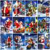 HUACAN Santa Claus Painting By Number Christmas Drawing On Canvas DIY Pictures By Number Winter Hand Painted Home Decor Gift