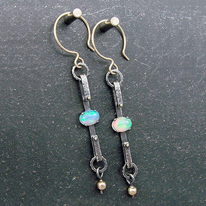 Vintage Pendientes Extra Long Opal Pearl Drop Earrings For Women Ethnic Antique Silver Handmade Thin Link Dangle Earrings Z4D400
