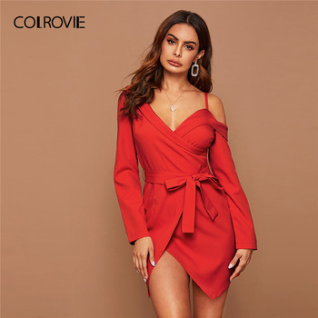 COLROVIE Bright Red Asymmetrical Neck Belted Wrap Dress Women Solid Long Sleeve Mini Dress 2020 Spring Sexy High Waist Dresses