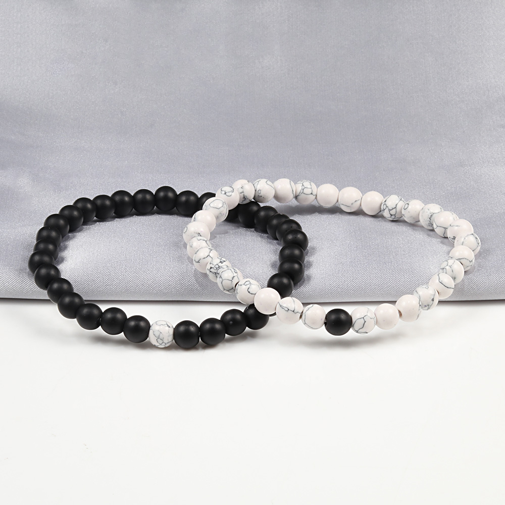 Hot Trendy Men Lava Stone Couples Distance Bracelets Natural Stone White Black Yin Yang Beaded Bangles For Women Friend Pulseira 3