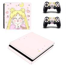 Anime Sailor Moon PS4 Slim cilt Sticker çıkartma vinil Playstation 4 konsolu ve kontrolörleri PS4 Slim cilt Sticker