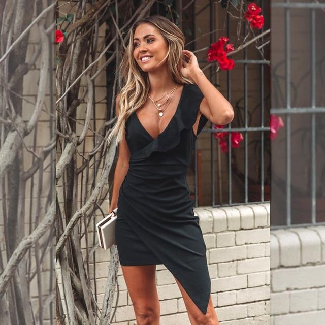 Female banquet dress 2021 sexy solid color v-neck ruffled skinny dress summer fashion elegant high-end club summer dress 3