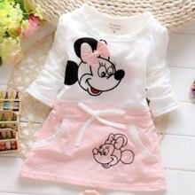 Новое модное платье для девочек, костюм для малышей, чистый хлопок, летняя красивая футболка принцессы с Минни Маус