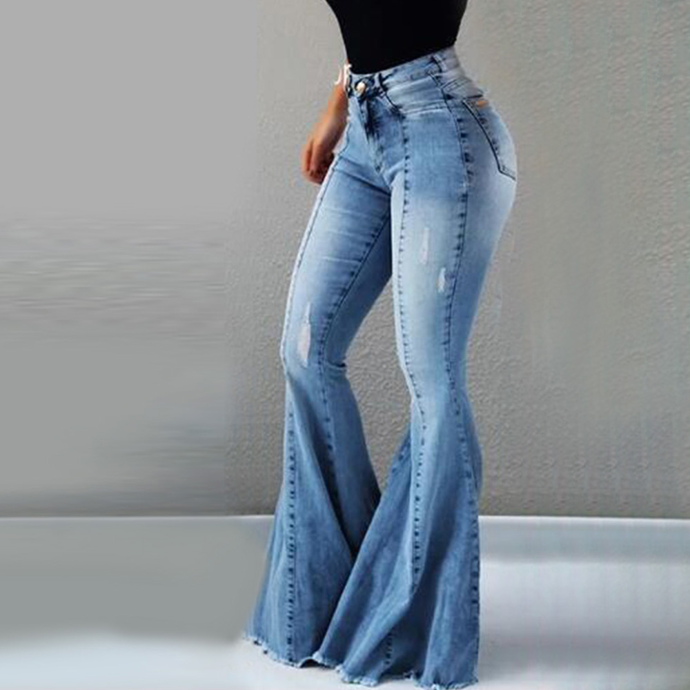 Jeans For Women Jeans High Waist Flare Pants Jeans Woman High Elastic Stretch Jeans Female Washed Denim Sexy Skinny Pants D30