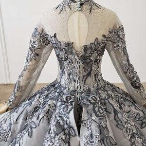 Image 5 - HTL1199 nowa długa elegancka suknia wieczorowa 2020 z długim rękawem na szyję aplikacja kryształowa koronka z powrotem cekinami