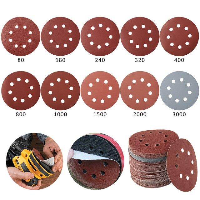 100pcs 125mm Sandpaper Round Shape Sanding Discs Hook Loop Sanding Paper Buffing Sheet Sandpaper 8 Hole Sander Polishing Pad