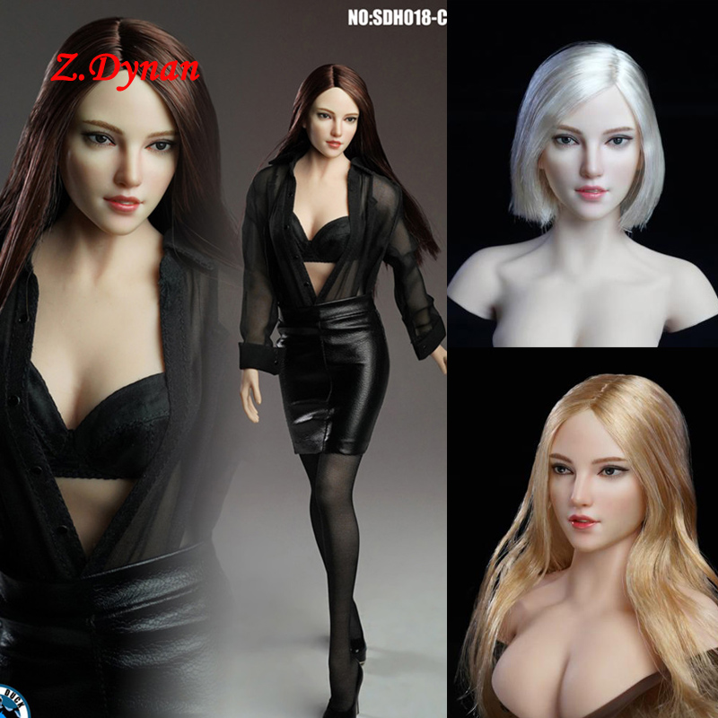 In Stock SUPER DUCK 1/6 SDH018 A/B/C Beauty Pale Skin Girl Head Sculpt Female Long Blonde Hair For 12'' TBLeague Body Figure