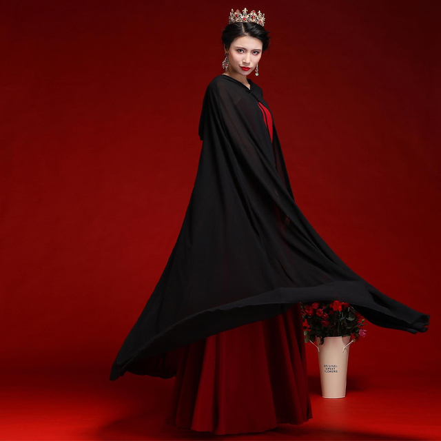 Women Chiffon Bridal Cape Long Wedding Cloak Hooded Elegant Lady Party Prom Cape Cosplay Witch Pirate Rolled Cloak Black Red 2