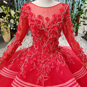 Image 5 - HTL834 muslim wedding gowns long sleeves beading appliques o neck red wedding dress with bridal veil ball gown vestido festa