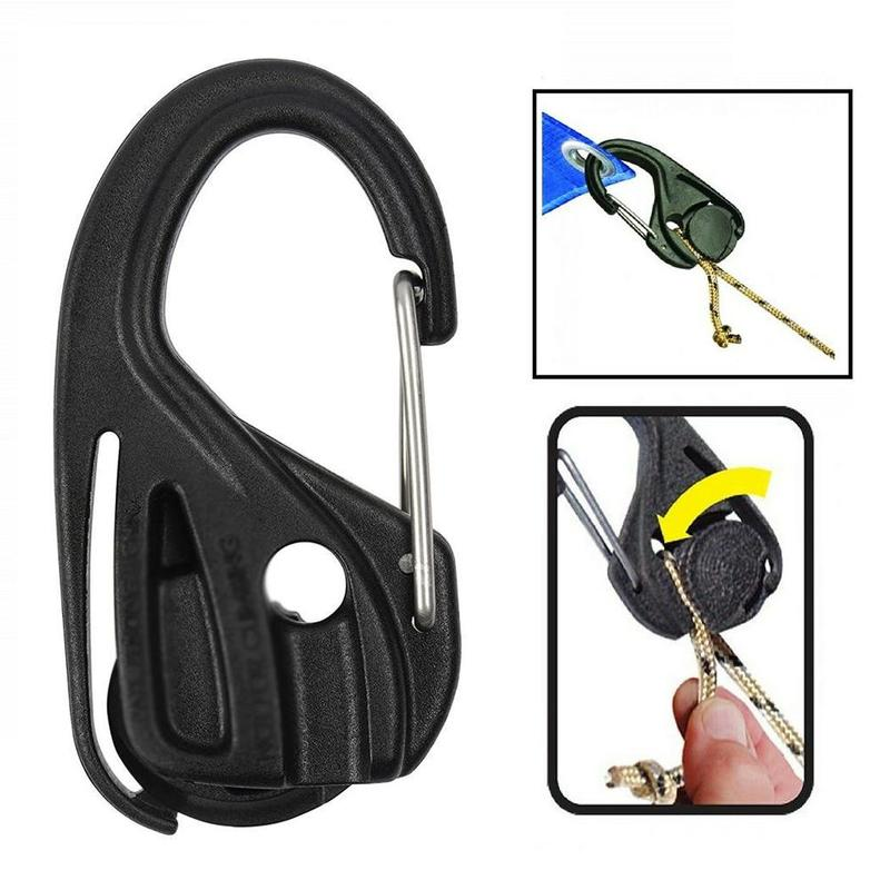 2 Pcs  2020 New S/M Size Carabiner Camping Tent Cord Rope Fastener Guy Line Runner Wind Stopper Tightener Tensioner Camping Tool