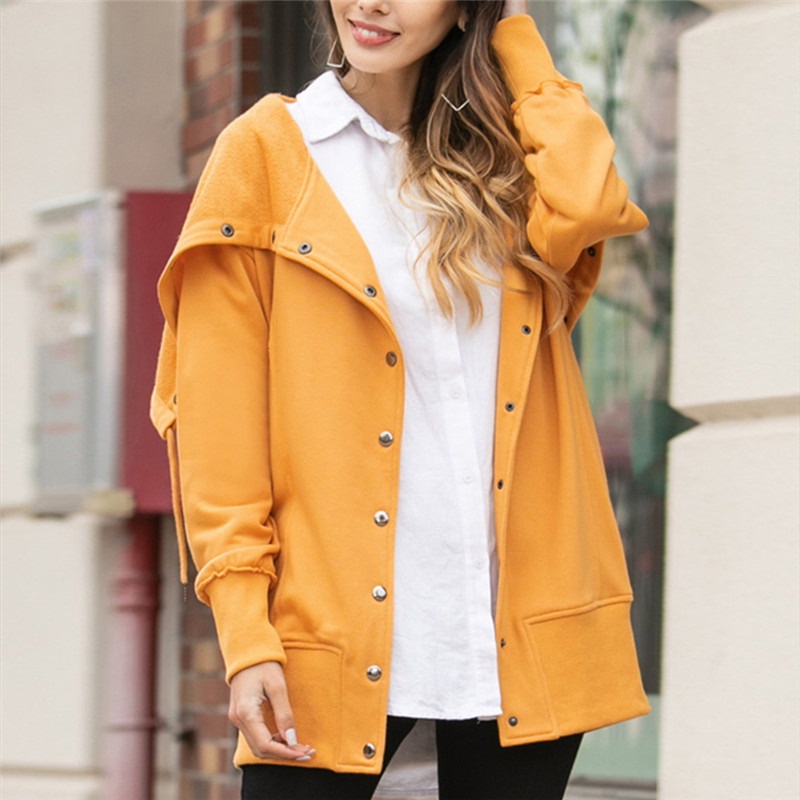 Ymwmhu 2020 Solid Women's Hoodies Cotton Long Sleeve Button Loose Fit Autumn and Winter Sweatshirt for Women Vintage Clothes