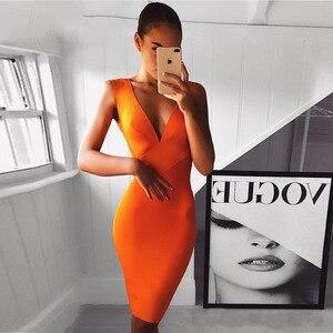 Image 2 - החדש Bodycon תחבושת שמלת אישה כתום שרוולים עמוק V צוואר סקסי לילה מועדון סלבריטאים ערב המפלגה שמלת נשים Vestidos