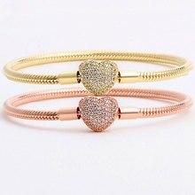 Оригинальный Розовый & золото моменты застежкой в виде сердца с украшением в виде кристаллов Браслет Fit бусины из стерлингового серебра 925 о...