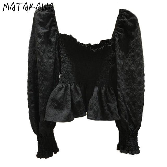 MATAKAWA Elastic Slim Backless Bottoming Shirt Korea Square Neck Puff Sleeves Blusas Mujer De Moda Pleated Blouse Women 5