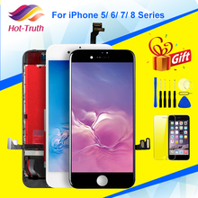 100% No Dead Pixel LCD For iPhone 5 5S 6 6s 7 8 7 Plus OEM Display 3D Touch Digitizer Pre assembled Tools Tempered Glass
