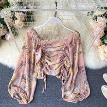 Женская блузка с завязками плиссированные рукава фонарики Ретро