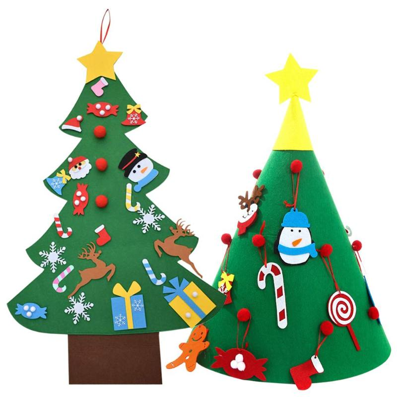 DIY Christmas Tree Door Wall 3D Stereo Felt Pendants Gifts Ornaments Decor Kids Christmas Tree Decor Toys Children Gifts