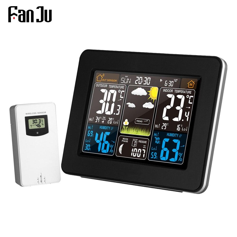 Fanju fj3365 termômetro digital, estação meteorológica sem fio, sensor para áreas internas e externas, higrômetro, despertador digital, barômetro, cor da previsão