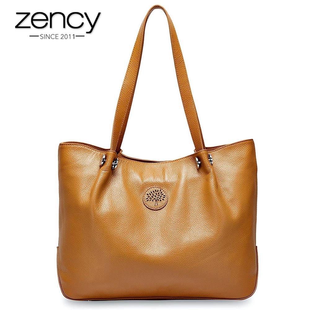Zency Large Capacity Women Shoulder Bag 100% Genuine Leather Handbag Simple Fashion Lady Crossbody Messenger Purse Black Tote