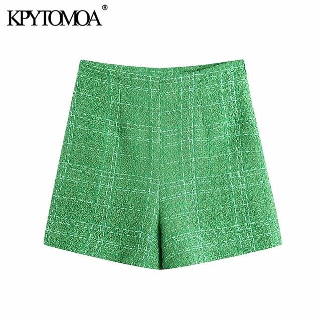 KPYTOMOA Women 2021 Chic Fashion With Lining Tweed Shorts Vintage High Waist Back Zipper Female Short Pants Mujer 1