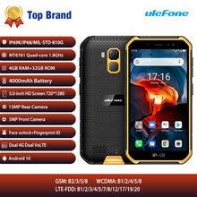 Ulefone armadura x7 pro telefone celular 4gb ram android10 smartphone ip68 áspero impermeável telefone móvel 4g lte 2.4g/5g wlan nfc telefone