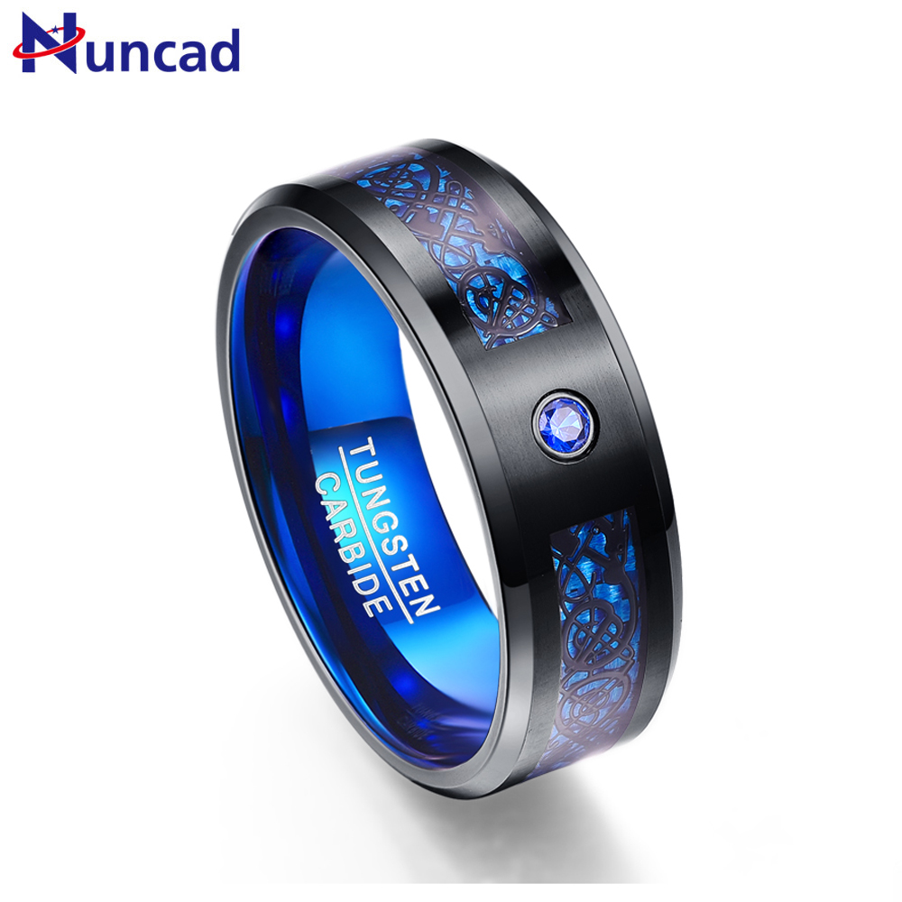 Nuncad free shipping 2.3MM thick Fashion Men's blue tungsten steel ring inlaid black dragon for Wedding Jewelry Gift T048R