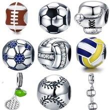 BISAER 925 пробы Щепка Футбол мяч спорт люблю волейбол футбольные мячи Подвески Fit серебряные шарики