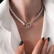 Kpop микс Цвет бисера жемчужное ожерелье для женщин, цепочек на шею в форме воротником для девочек чокер с подвеской украшения на шею украшени...