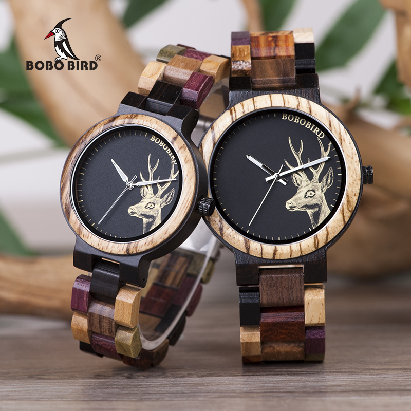 Wooden Watches Couple Gift Deer Bobo Bird Women Ladies Lover's Elk Quartz Saati Erkek title=