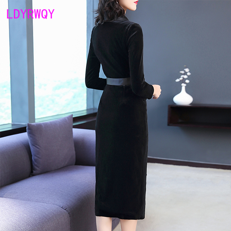 2019 new European and American style Slim lace with gold velvet Women's long temperament hip dress Ankle-Length