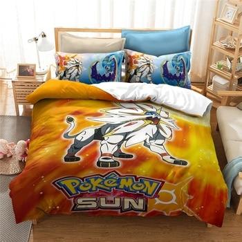 Juego caliente Solgaleo impreso juego de cama Pokemon Pikachu patrón conjunto nórdico y de fundas de almohadas Impresión Digital juego de cama 2/3 Uds